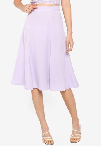 ZALORA BASICS 紫色 Midi Flare Skirt BD1C0AAD19403AGS_1