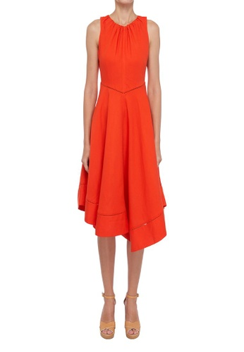 ck Calvin Klein orange LINEN VISCOSE DRESS 6DEC7AA45F2334GS_1