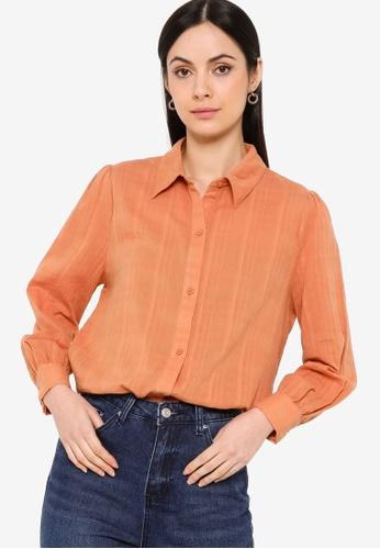 ZALIA BASICS orange Cotton Collar Shirt 20FD6AA109BD01GS_1