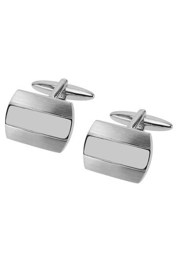 CUFF IT silver Brush Silver with Shiny Center Cufflinks CU047AC2UQ7CHK_1