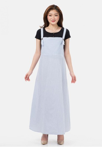 MKY Clothing blue Small Plaid Long Overall Skirt 13472AA8B33FD2GS_1