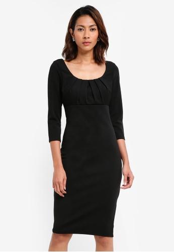 Goddiva black Pleated Front Midi Dress 48FF5AA3035879GS_1