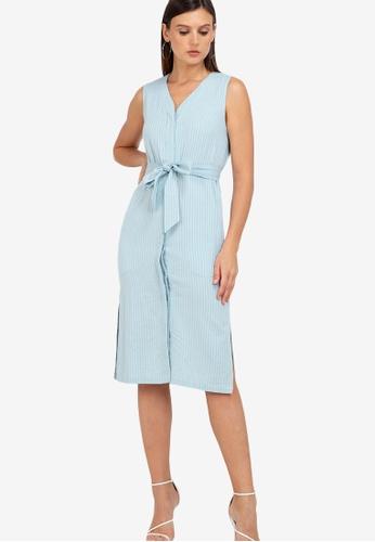 ZALORA WORK blue Sleeveless Midi Dress 3EB5AAAFEC0282GS_1