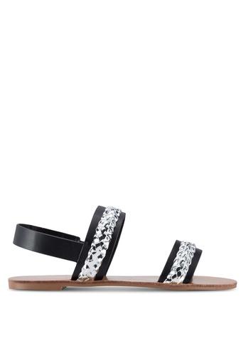 Velvet black Occasion Metallic Braid Slingback Sandals 75004SH0683CC5GS_1