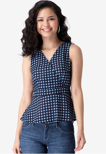 FabAlley blue Navy Polka Belted Wrap Top D3248AA06CB902GS_1
