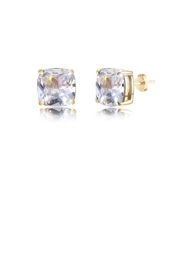 Glamorousky white 925 Sterling Silver Plated Champagne Gold Simple Geometric Square White Cubic Zircon Stud Earrings 91DD3ACAC08103GS_1