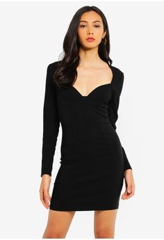 d25a26e7af82 MISSGUIDED black Bust Cup Long Sleeve Mini Dress 23736AA6CAB42EGS_1