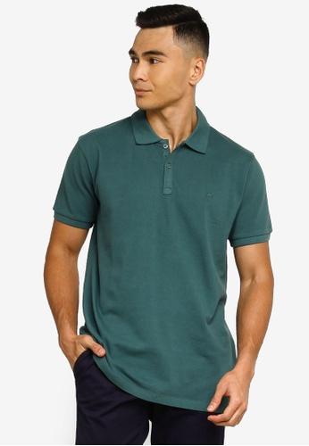Sacoor Brothers green Short sleeve cotton polo piquet garment dye 2765EAA117B994GS_1