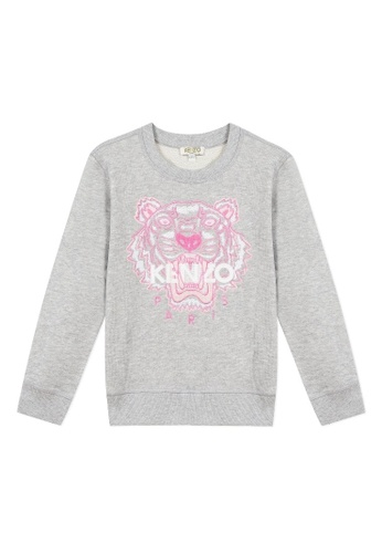 KENZO KIDS white and pink and green and multi KENZO TIGER SWEATSHIRT FOR GIRLS A8500KA585F4E5GS_1