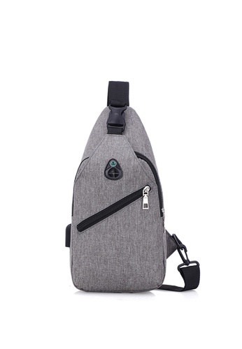 Jackbox grey Korean Men's USB Charging Port Messenger Bag 354 ( Grey ) 74AE9AC89F263BGS_1