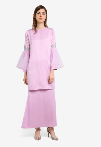 Gene Martino purple Fairy Kurung With Organza Ruffles Sleeve And Floral Details GE222AA0S76FMY_1