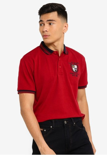 Fidelio red Embroidery Lining Collar Polo Shirt 53F2EAA7451490GS_1