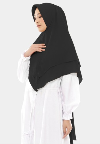zelena black Hijab Instan 2 Layer Khimar Maharani Ceruty Baby Doll - Black Swan 9DA43AAA739F76GS_1