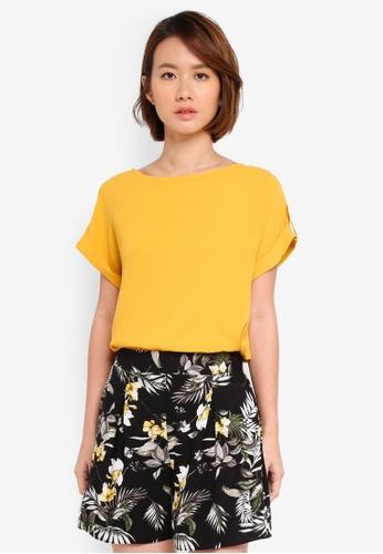 Dorothy Perkins orange Ochre Button Sleeve Tee 8B32BAAFFD6757GS_1