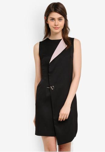 Megane black Abela Overlap Dress ME617AA0S0V6MY_1