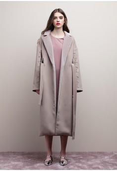 【ZALORA】 絨毛領口綁帶長版大衣