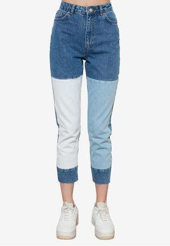 Trendyol 藍色 Color Block High 腰圍 Mom 牛仔褲 44EE0AA5C3C62AGS_1