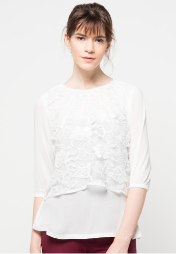 EPRISE white Blouse Brocade EP457AA93XZQID_1