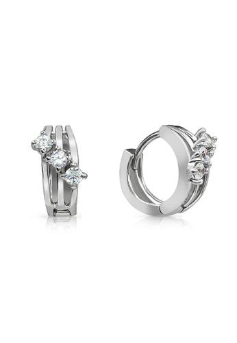 SO SEOUL silver Triple Hoop Diamond Simulant Huggie Earring 8E9CFACA88EE12GS_1