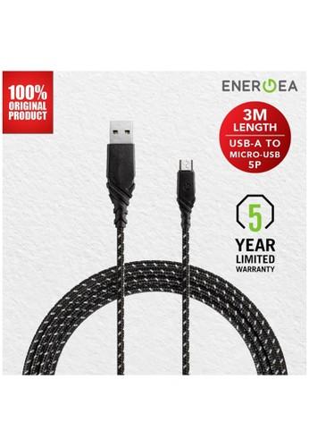 Energea black Kabel Data USB C to USB A 3 Meters DuraGlitz Energea - Black 17DE3ESDA7CF6EGS_1