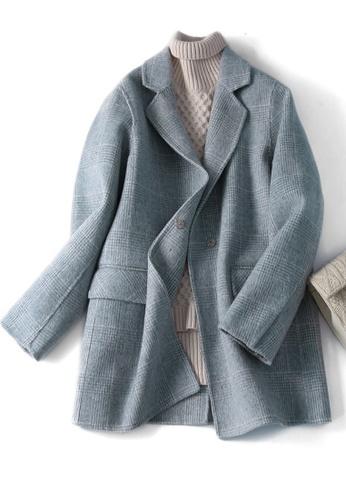 Twenty Eight Shoes blue VANSA Vintage Check Wool Double-faced Coat  VCW-C8023 905D0AA2D61A9DGS_1