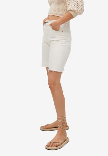 Mango white High-Waist Denim Bermuda Shorts F9BEFAACE9FE7FGS_1