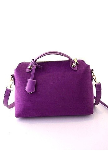 Jackbox purple Fashion Scrub Plush PU Leather Sling Bag Messenger Bag 324 (Purple) JA762AC94KEZMY_1