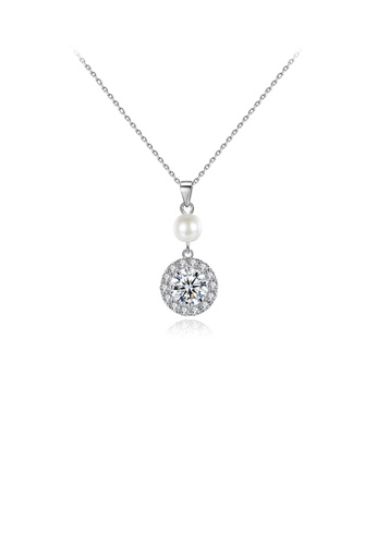 Glamorousky white Fashion and Elegant Geometric Round Imitation Pearl Pendant with Cubic Zirconia and Necklace 1ADE5ACAB0A795GS_1