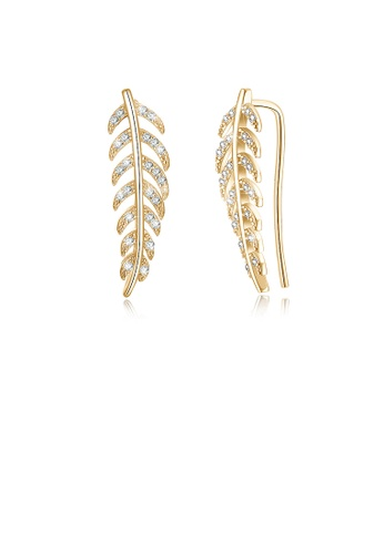 Glamorousky white 925 Sterling Silver Champagne Gold Leaf Earrings In with Austrian Element Crystal 8758BAC65F9F6BGS_1