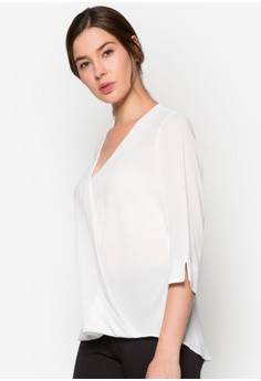 Woven Ivory Wrap Top