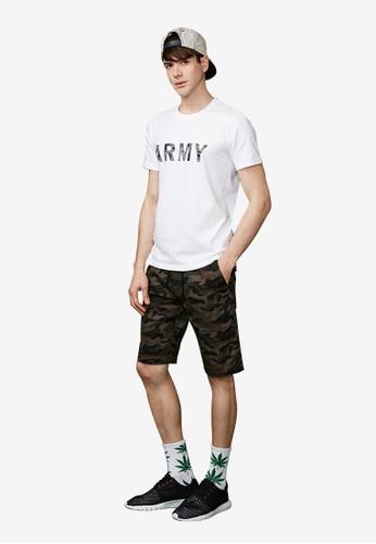 美式ARMY。拉繩水洗迷彩短褲-02312-軍綠迷彩, 服飾,esprit home 台灣 短褲