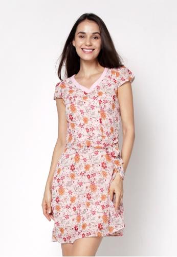 nicole pink V-Neckline Cap Sleeve Floral Printed Dress 7C6FEAA326227DGS_1