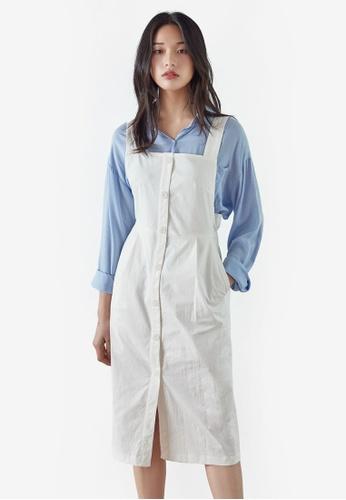 NAIN white Button Down Pinafore Dress 5D96DAA43DC94AGS_1