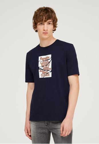 Sisley blue Printed T-shirt 5FCECAAF25B6CCGS_1