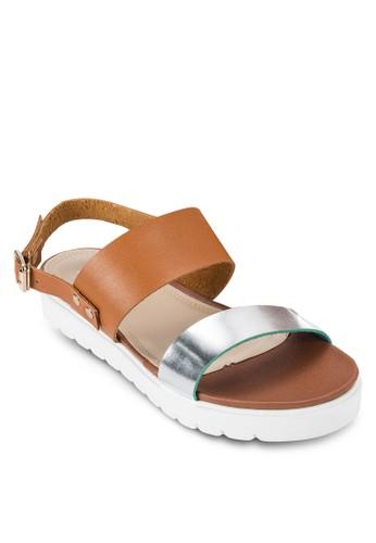 亮面寬帶繞踝厚底涼鞋, 女鞋salon esprit 香港, 鞋