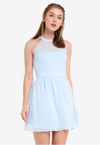 ZALORA blue Bridesmaid Halter Fit & Flare Mini Dress 4770EAA05D4410GS_1