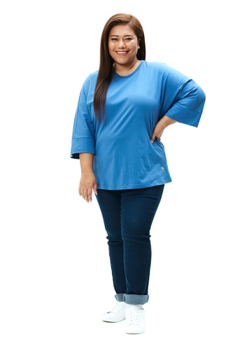 MS. READ blue Three Quarter Sleeve Dolman Tee A31FBAAFD831F1GS_1