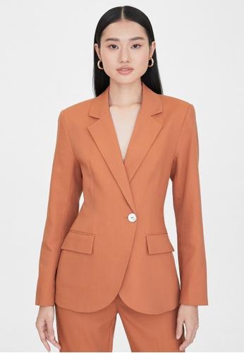 Pomelo orange Side Single Button Blazer - Orange 5026DAA359D8C2GS_1