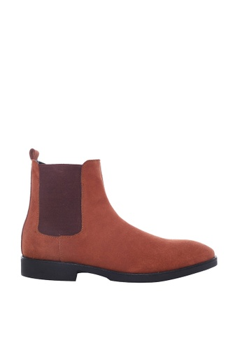 Zeve Shoes brown Zeve Shoes Chelsea Boots - Tan Suede Leather B6FE9SH8D160B3GS_1