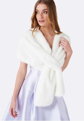 Forever New white Sophia Faux Fur Wrap FO169AC0G1I2SG_1