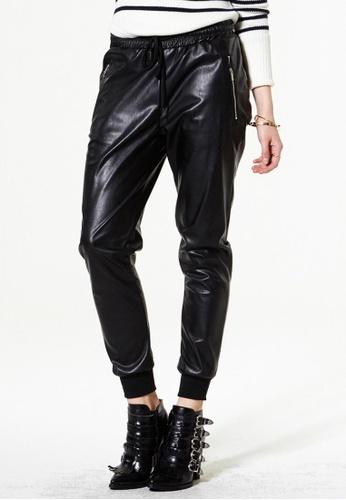 Storets black Fine Vine Vegan Leather Pants ST450AA0GO5KSG_1