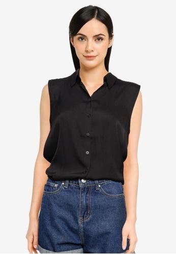 Banana Republic black Sleeveless Button Up Top F178BAA70F74A3GS_1