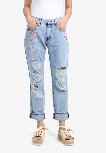 Something Borrowed blue Embroidery Ripped Boyfriend Jeans A63A9ZZB001357GS_1