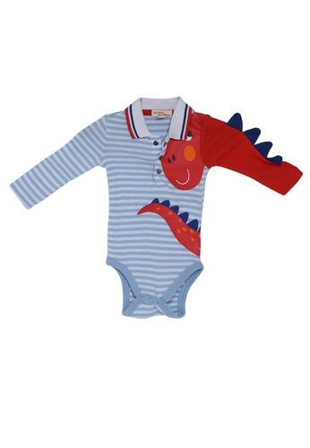 DU PAREIL AU MÊME (DPAM) white Dino Print Striped Bodysuit 7C286KA1335E0CGS_1