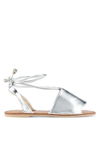 Something Borrowed silver Lace Up Wrap Sandals B0C3ASH8E4D4D5GS_1