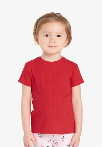 Gen Woo red Basic rib-knit T-shirt By Gen Woo A35A4KAD0F35D0GS_1