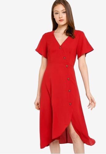 ZALORA BASICS red Basic Asymmetric Tea Dress A1215AA9CF2961GS_1
