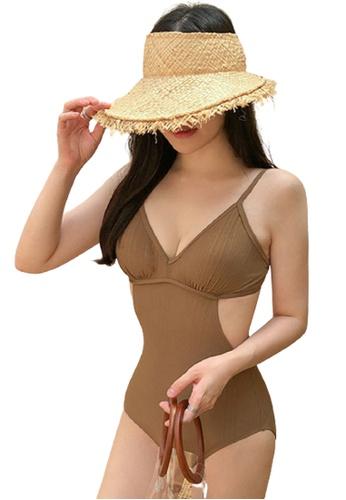 Halo 褐色 棕色修身連體泳衣 30714US9E9594EGS_1