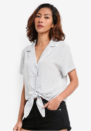 Cotton On white Tie Front Resort Shirt 042D8AAAEBB6F9GS_1