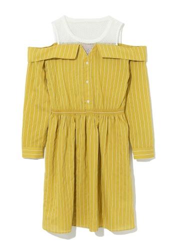 b+ab yellow Shoulder cutout stripe dress 706B9AA5D6A769GS_1